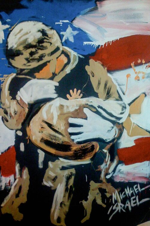 soldier's heart painting by michael israel depicts a soldier rescuing an infant