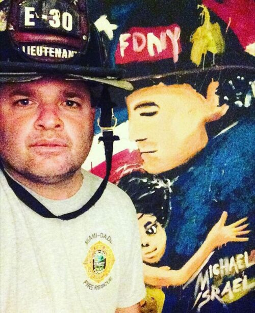 hero painting by michael israel with fire fighter