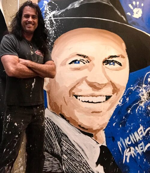 Frank Sinatra with hat portrait by Michael Israel