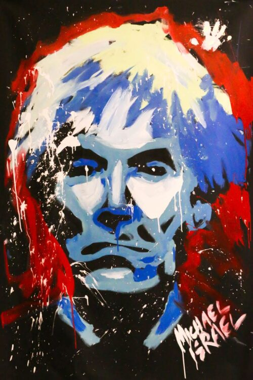 andy warhol portrait in red, white, and blue by michael israel